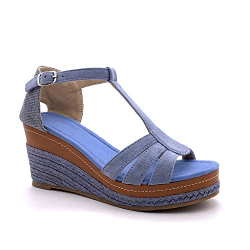 Angkorly - Mode schoenen Klompen Espadrilla T-bar Enkelband Vrouw Riemen Met stro Gevlochten Type de talon NL sleehak 8 CM - Blauw FL32 T 40
