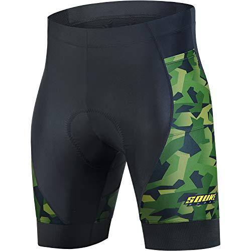 Souke Sports Men's Cycling Shorts 4D Padded Bike Biking Half Pants Bicycle Riding Quick-Dry Tights with Pocket(Blackgreen,Large)