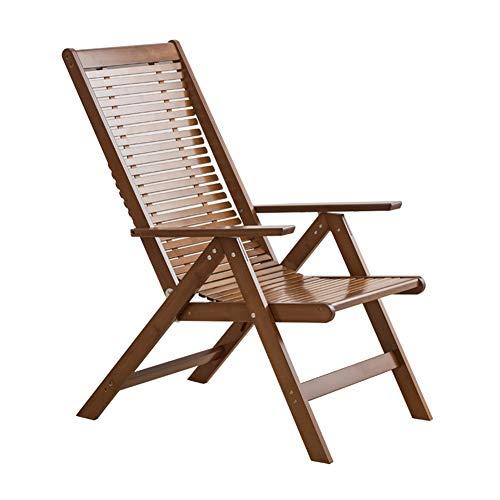 Tumbonas HAIYU-Sillón Reclinable de Madera Plegable para Exteriores Jardín con Respaldo Alto Ajustable en 6 Posiciones Ideal para Balcón/Jardín/Terraza(Color:marrón)