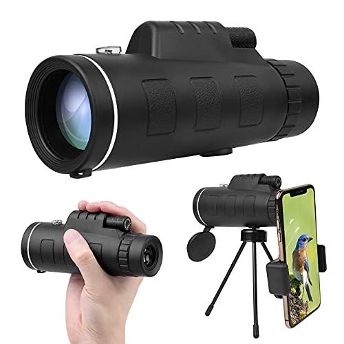 Vicloon Telescopio monocular, 12 x 50 HD Monocular Telescopio para Observación de Aves, Alta definición FMC BAK4 Impermeable Telescopio Monoculares con Soporte para Smartphone y Trípode para C