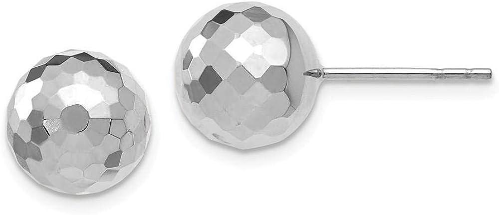 14k White Gold 9.4MM Diamond Cut Ball Earrings