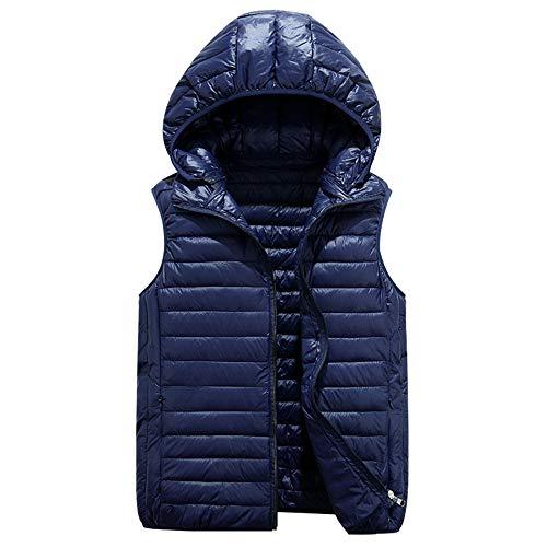 Minizone Kinder Winterweste mit Kapuze Daunenweste Winterjacke Jungen Mädchen Aermellos Outfits 8-9 Jahre