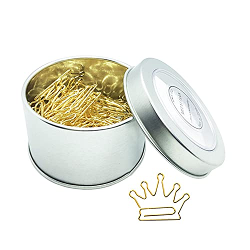 30pcs Gold Paper Clips Creative Crown Shape Bookmarks Clip Cute in Tinplate Paper Clip Dispenser Holder Round Tin Box for Office Home School Organizers Gift Idea (Crown, Gold)
