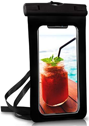 OneFlow® wasserdichte Handy-Hülle für alle Apple iPhone | Touch- & Kamera-Fenster + Armband und Schlaufe zum Umhängen, Schwarz (Ocean-Black)