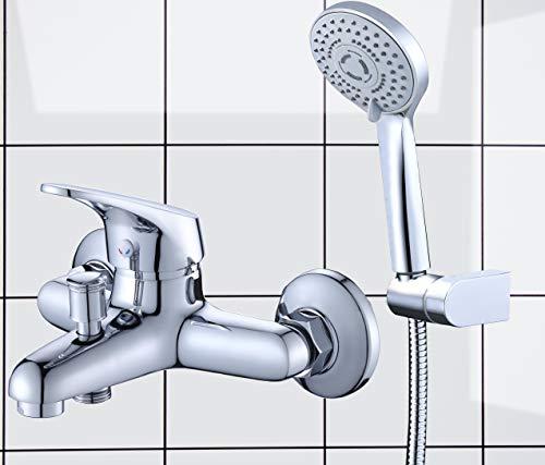 Grifo de Bañera con Alcachofa de Mano (3 modos), Mezclador Monomando Cromado Baño y Ducha, Incluye Soporte de Pared y Manguera de Ducha de 1,5-1.7m extensible