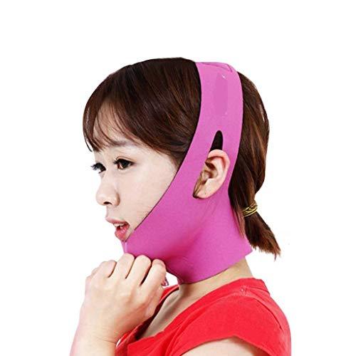 Cinturón Facial Fino, Dormir Transpirable Cara Fina Vendaje Levantamiento Reafirmante Doble mentón V Cara Artefacto Máscara de corrección de Belleza (Color: Rojo Rosa)