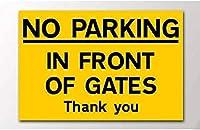 ゲートの前に駐車禁止ヴィンテージスタイルメタルサインアイアン絵画屋内 & 屋外ホームバーコーヒーキッチン壁の装飾 8 × 12 インチ