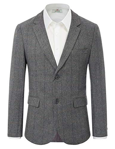 Men's Herringbone Tweed Blazer British Wool Blend Sport Coat Jacket M Grey
