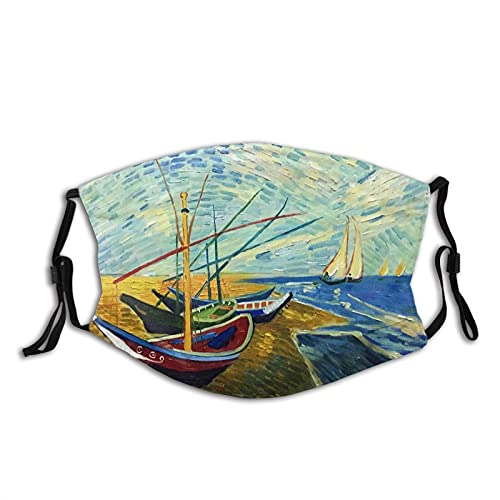 Van Gogh boat Creative Oil Painting Face Mask Adjustable Washable And Reusable Headscarf Balaclava Adult Mask With 2pcs Filter