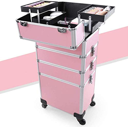 Cosmeticakoffer trolley Roll make-up hoezen kunstenaarszak-geheugenkit box trolley cart tray behuizing oppervlak professionele grote cosmetica make-up trein organizer rolling make-up train case