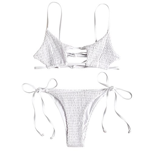 ZAFUL Women's Smocked Bikini Sexy Keyhole Shirred Spaghetti Strap Thong Cheeky Bathing Suits White S
