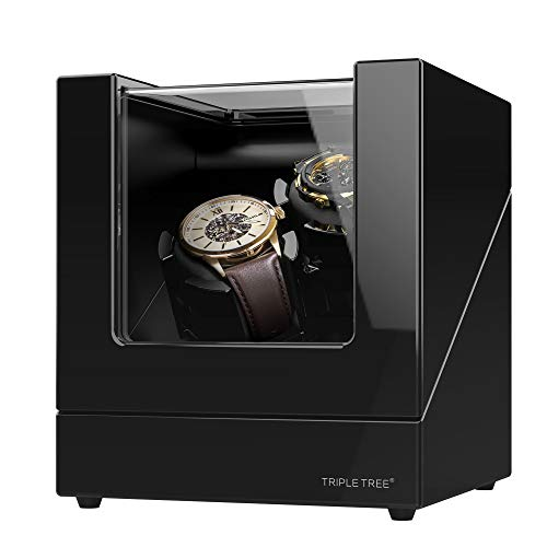 Double Watch Winder, for Automatic Watches, Wood Shell Piano Paint Exterior, Extremely Silent Motor, Flexible Watch Pillows, Suitable for Ladies and Men's Wrist, with USB Power Cable(Updated)