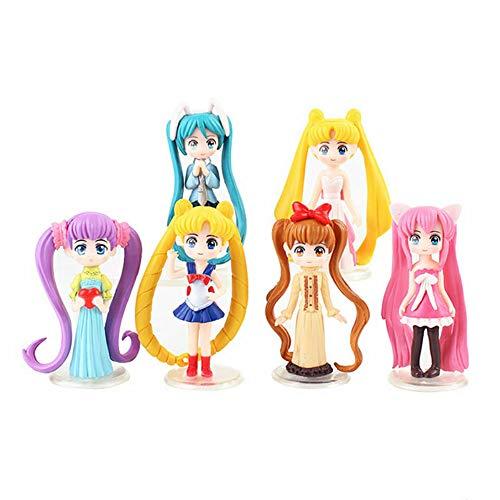 Yzoncd 6 unids/set Sailor Moon tsukino japonés anime niñas ojo grande kawaii figuras pvc modelo juguete muñeca 8 cm