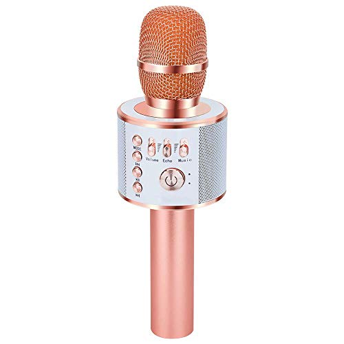 Verkstar Bluetooth Karaoke Microphone, Portable Speaker High Sound Quality, Karaoke Equipment with Bluetooth and Easy Connection, Wireless Microphone Karaoke, Includes Earphone Jack, Compatible with Android and iPhone, rosegold