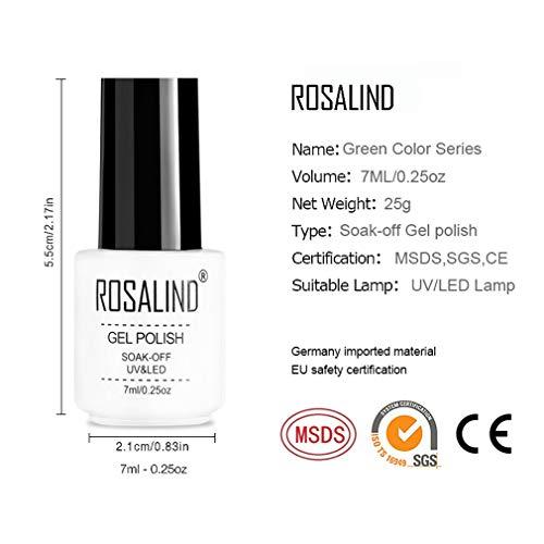 ROSALIND 4pcs Esmaltes Semipermanentes de Uñas en Gel UV LED, Kit de Esmaltes de Uñas de Brillo Arcoiris 7ml (03)