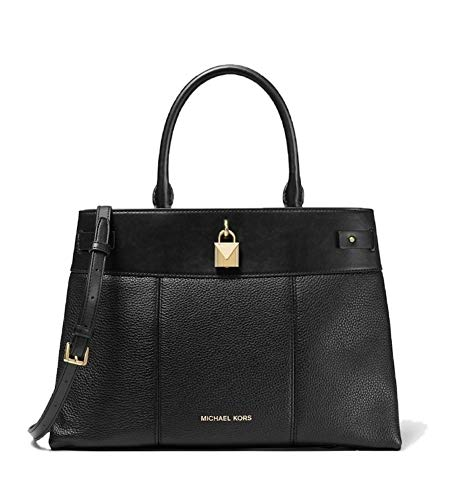 Gramercy Large Pebbled Leather Satchel Our Gramercy satchel exudes uptown polish with its refined shape made from pebbled and smooth leather. Finished with a lock charm, this sophisticated accessory boasts a structured top handle and adjustable shoul...