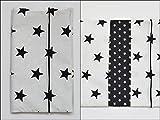 Windeltasche Wickeltasche'Sterne schwarz weiß unisex Junge Mädchen' (Geburtsgeschenk Mamageschenk)