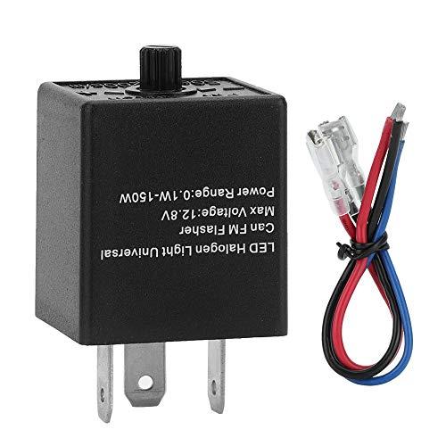 EVGATSAUTO LED Blinkrelais, 12V-24V 3 PIN Einstellbarer LED Blinkrelais Blinker für Kraftfahrzeug Motorrad Schwarz