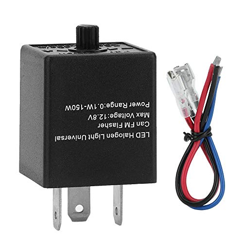 Suuonee LED Blinkrelais, Universal 12V 24V 3-PIN Einstellbare LED Blinkrelais Blinker Licht Blinker Für Automotive Motorrad