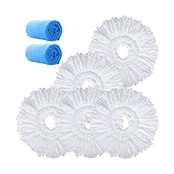 Microfiber Replacement Mop Head Refill for 360° Spin Magic Mop - Round Shape Standard Universal Size  5 Pack
