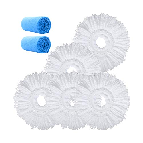 Microfiber Replacement Mop Head Refill for 360° Spin Magic Mop - Round Shape Standard Universal Size (5 Pack)