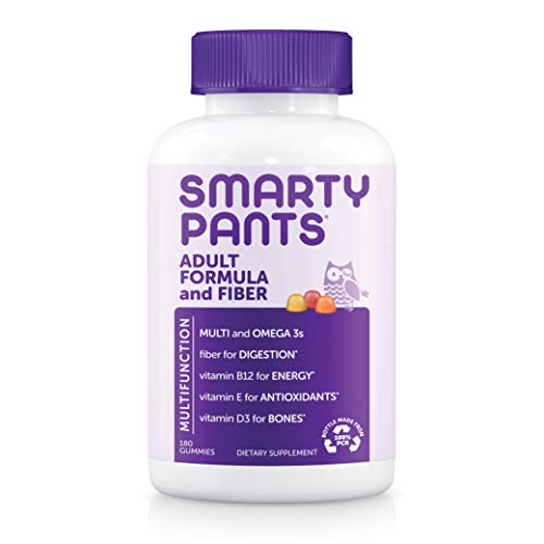Daily Gummy Multivitamin Adult w/ Fiber: Fiber for Digestive Support, Vitamin C, D3, & Zinc for Immunity, Omega 3 Fish Oil, Vitamin B6, E, Methyl B12 by Smartypants 180 count (30 Day Supply)