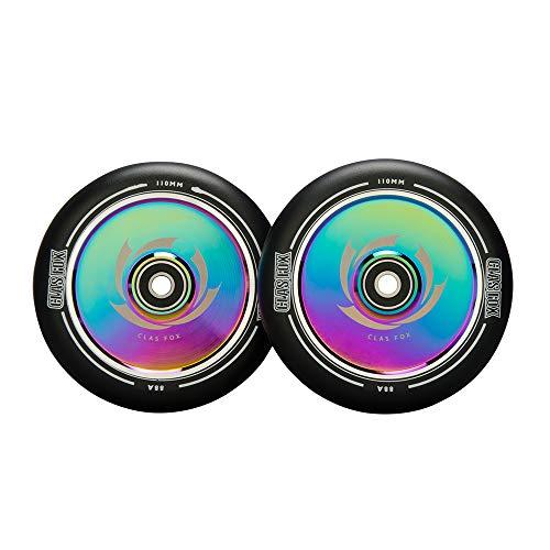 CLAS FOX Ruedas para patinete Pro Stunt de 120 mm, ruedas huecas, un par con rodamientos ABEC-9, núcleo de metal CNC para MGP/Razor/Lucky/Envy/Vokul Scooter (2 unidades), color negro