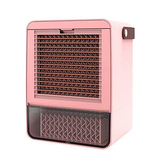 ROVNKD Mini Kühlventilator Heimklimaanlage USB-Ladekühler Fan Beweglicher Wasser(Rosa,)