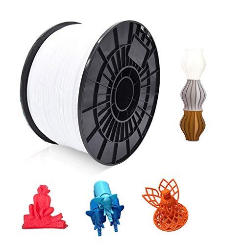 PLA Filament (filament PLA 1,75mm) pour l'impression 3D et le stylo d'impression, précision - / + 0.02mm (1kg - 3kg), blanc (Color : PLA1.75 white 2kg)