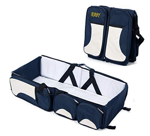 Rullar Baby Oxford Wickelrucksack Wickeltaschen mit Schnallen Große Kapazität Henkeltaschen Rucksäcke Umhängetaschen Multifunktional Babytasche Reisetasche für Unterweg Dunkelblau