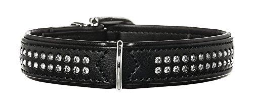 HUNTER MODERN ART DELUXE Hundehalsband, Kunstleder, Strasssteinchen, 45 (S-M), schwarz