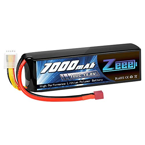 Zeee 14.8V 100C 7000mAh 4S RC Lipo Battery Deans Connector with Metal Plates for RC Car RC Truck RC Tank Racing Hobby