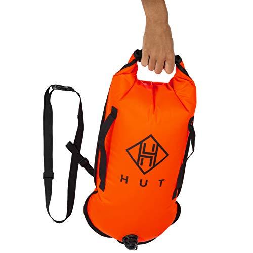 Hut Premium Schwimmboje Dry Bag Abschlepp- und wasserdichte Trockentasche für Schwimmer, Triathleten. Schwimmboje mit hoher Sichtbarkeit, Zwei Luftkammern - gesehen Werden Sie sicher Sein