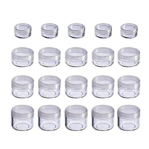 JZZJ 20 Piezas Contenedor de Cosméticos Bote Tarro de Viaje Set con Tapa para Almacenaje de Maquillaje Cremas Muestras, 5, 10, 15 y 20 Gramos