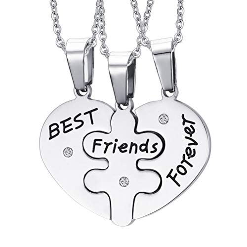 Fenical Collane con Pendente Friendship Best Friends Forever Puzzle Necklaces 3pcs