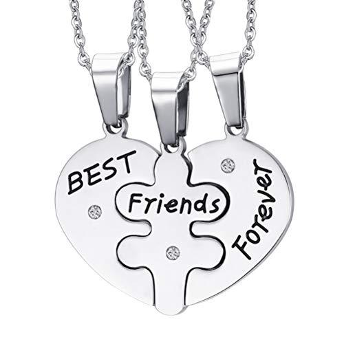 FENICAL Collares Pendientes Amistad de Acero Inoxidable Mejores Amigos para Siempre Puzzle Collares 3pcs
