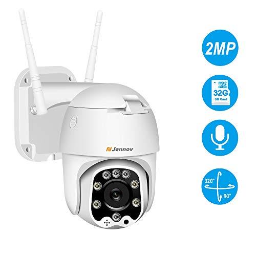 Dôme Caméra Surveillance WiFi de Sécurité, Jennov HD 1080PCaméra IP Extérieure sans Fil, 2-Voix...