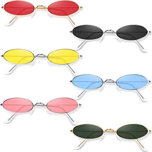 6 Pairs Vintage Oval Sunglasses Metal Frame Oval Sunglasses Slender Candy Color Sunglasses Eyewear product image