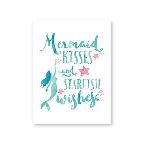 Canvas schilderij zeemeermin kussen en zeester wensen poster prints zeemeermin citaten nautische muur foto meisjes kamer muur kunst decor / 50x70cm geen frame