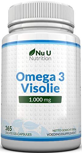 Omega 3 Visolie 1000 mg - 365 Geltabletten, 1 jaar levering - Pure visolie met evenwichtige EPA & DHA - Verontreinigingsvrije Omega 3 – Gemaakt in het VK door Nu U Nutrition