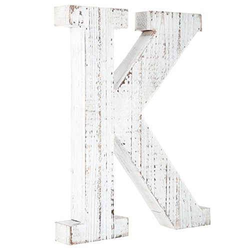 Distressed White Alphabet Wall Decor Free Standing Monogram Letter K