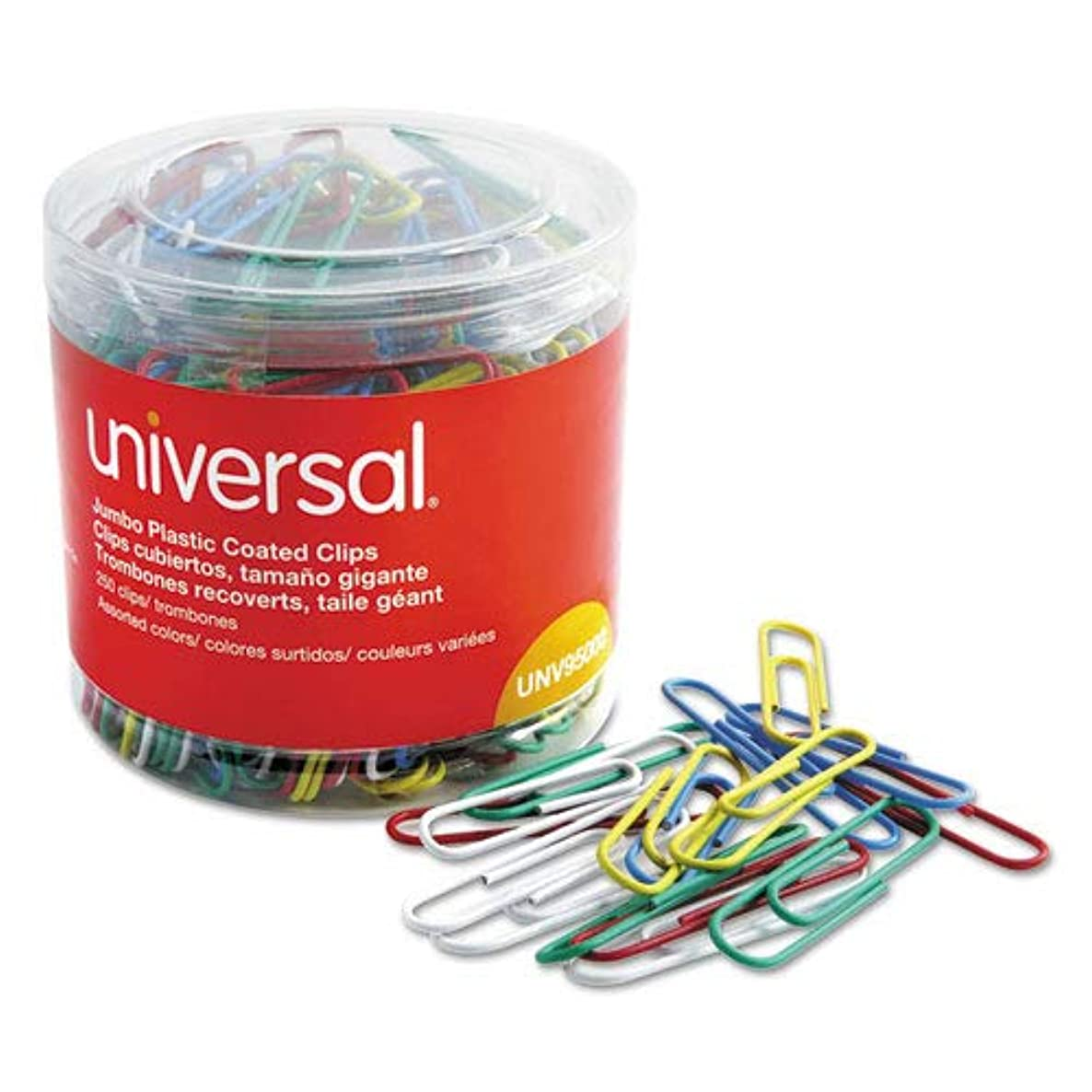 Universal 95000 Plastic-Coated Wire Paper Clips, Jumbo, Assorted Colors, 250/Pack