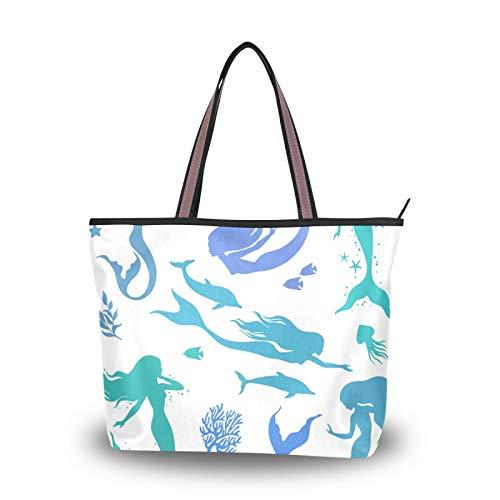 JUMBEAR Bolso de lona para mujer, diseño de delfines de sirena, algas marinas, acuarela, abstracto, para compras, L, color, talla Medium