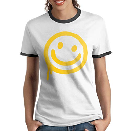 Sherlock-Smiley Face Womens Short Sleeve Contrast T Shirt Tee Sports(L,Black)