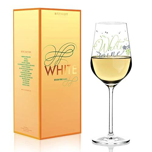 RITZENHOFF White Weißweinglas von Kathrin Stockebrand, aus Kristallglas, 360 ml, mit edlen Platinanteilen