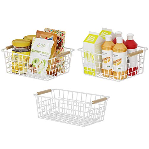 Apsan Kitchen Wire Storage Baskets for Pantry Cabinet  3 Pack Metal Wire Food Organizer Storage Bin with Handles for Bathroom Laundry Room Closets Garage - White