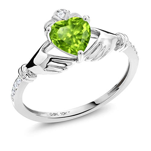 Gem Stone King 10K White Gold Green Peridot and White Diamond Women Irish Celtic Claddagh Ring (0.83 Ct Heart Shape) (Size 7)