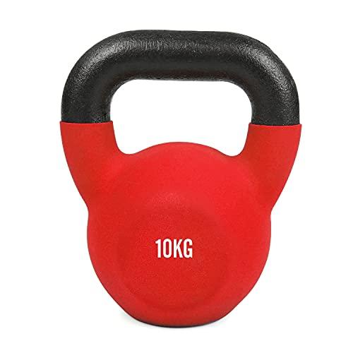 #DoYourFitness Kettlebell - Kugelhantel aus massivem Gusseisen mit Neoprenbeschichtung - Rot - 10 KG