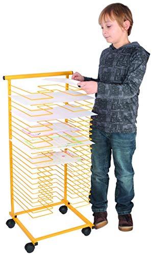 Papiertrockenständer, gelb, für 50 DIN A4 Blätter, mit Rollen