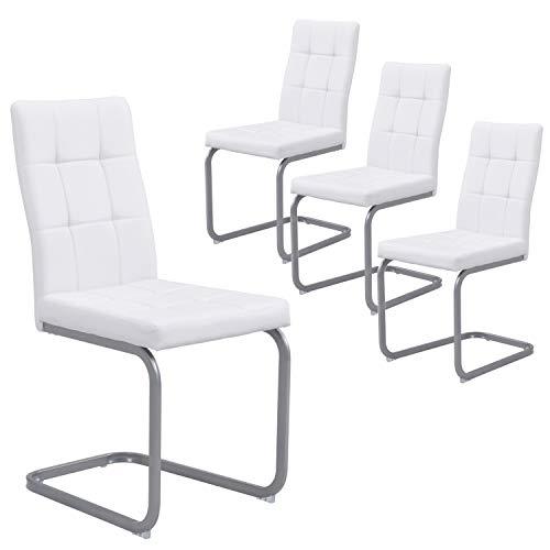 B&D home - Esszimmerstühle 4er Set | Vintage freischwinger Stühle | Kunstleder weiß